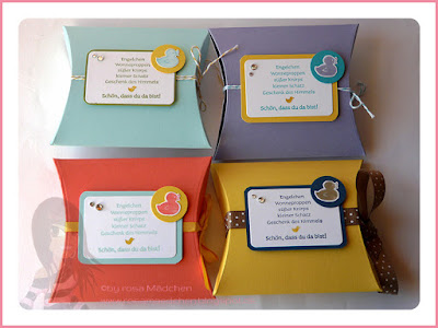 Stampin' Up! Rosa Mädchen Pillow Box für Wonneproppen mit Spring Sampler und Viel-schichtig