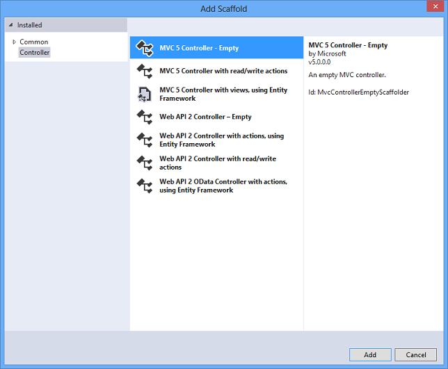 Adding a Controller in ASP.NET MVC 5 Application-Add Scaffold