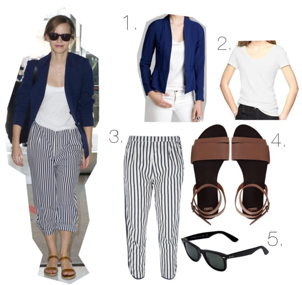 emma watson, striped pants, harem, leather sandals, navy blazer, raybans, plain white tee, tshirt, outfit, inspiration