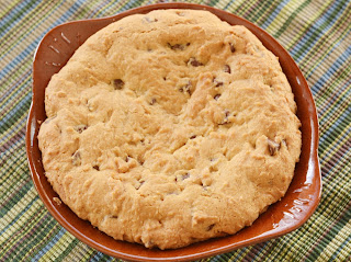 coconut peanut butter stuffed deep dish chocolate chip cookies [secret recipe club]