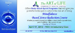 Mindfulness-based stress reduction (MBSR) course at the Art of Life Community Health Centre, Toronto