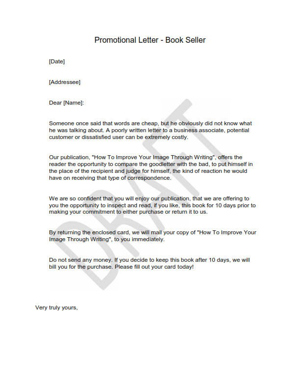 Free Example Of Promotional Letter 3
