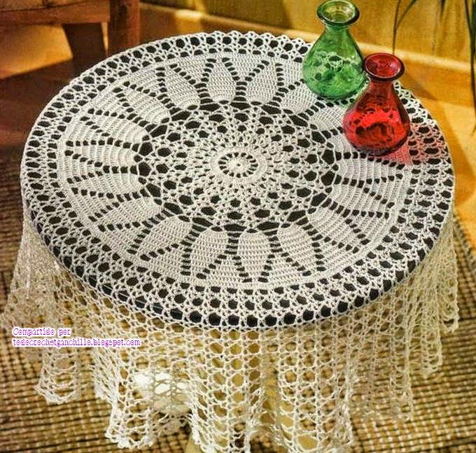 Mantel circular de hermoso dise o todo crochet - Mantel de crochet ...