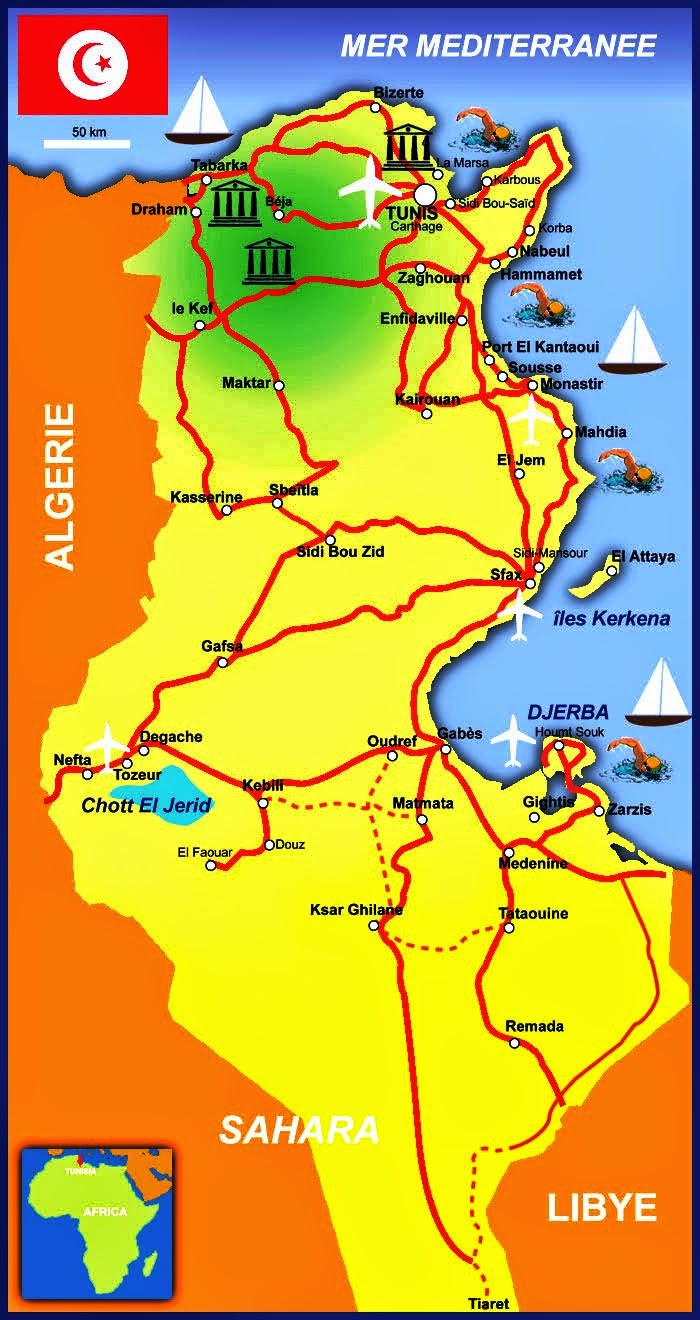 About Tunis Tourism And Travel - Map of tunisia
