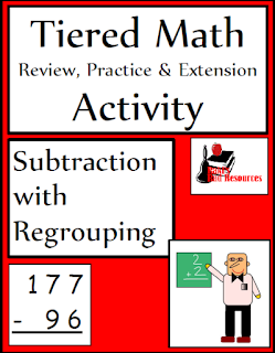 Tiered math activity - subtraction with regrouping - free download from Raki's Rad Resources.