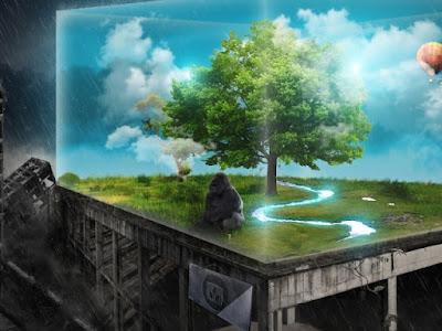Singe et paysage bucolique dans un vivarium futuriste
