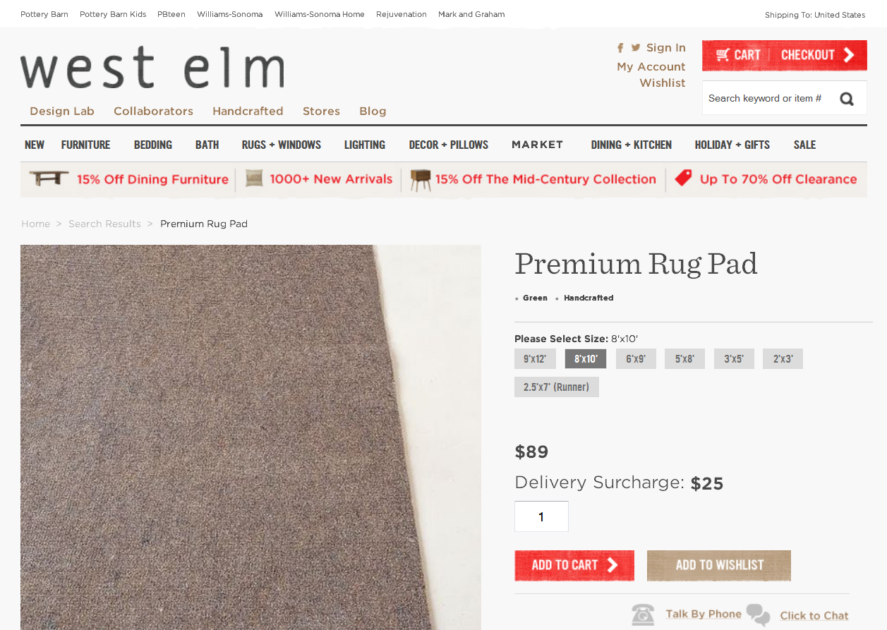 Of Course, Now Iu0027m Wondering If The Shipping Charge Might Be Waived If I  Order The Rug Pad In ...