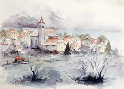 winter village watercolor