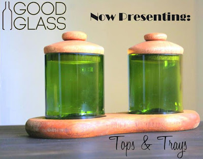 recycled glass with wooden lid made in Uganda by Good Glass