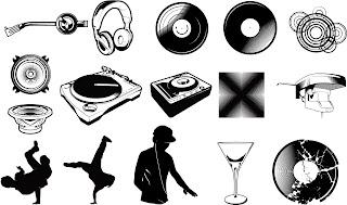 クラブ ミュージック関連のシルエット DJ media produced vector イラスト素材