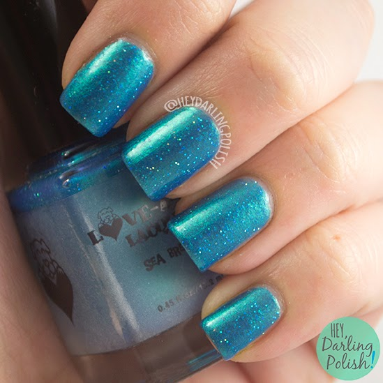 sea breeze, teal, shimmer, glitter, nails, nail polish, indie polish, indie, love-a-bull lacquer, hey darling polish,