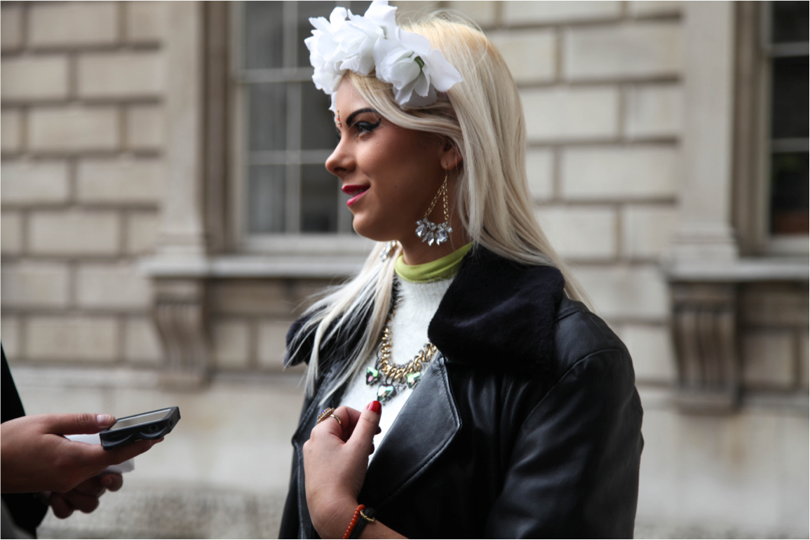 London Fashion Week streetstyle gemstone statement jewellery