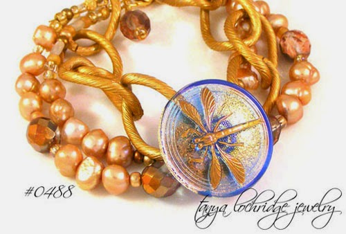 Tanya Lochridge Jewelry Dragonfly Czech Vintage Button & Pearl Bracelet