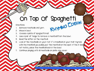 http://www.teacherspayteachers.com/Product/On-Top-Of-Spaghetti-Rhyming-Edition-981033