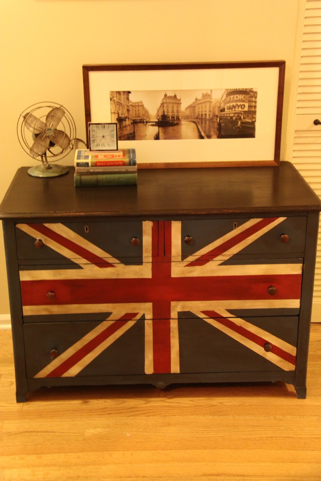 Painting a Union JackBritish Flag on a dresser tutorial  MegMade