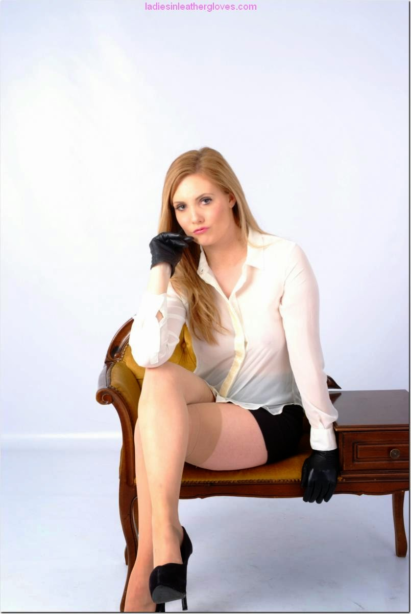 Hot Blonde Short Skirt, Stockings and Leather Gloves