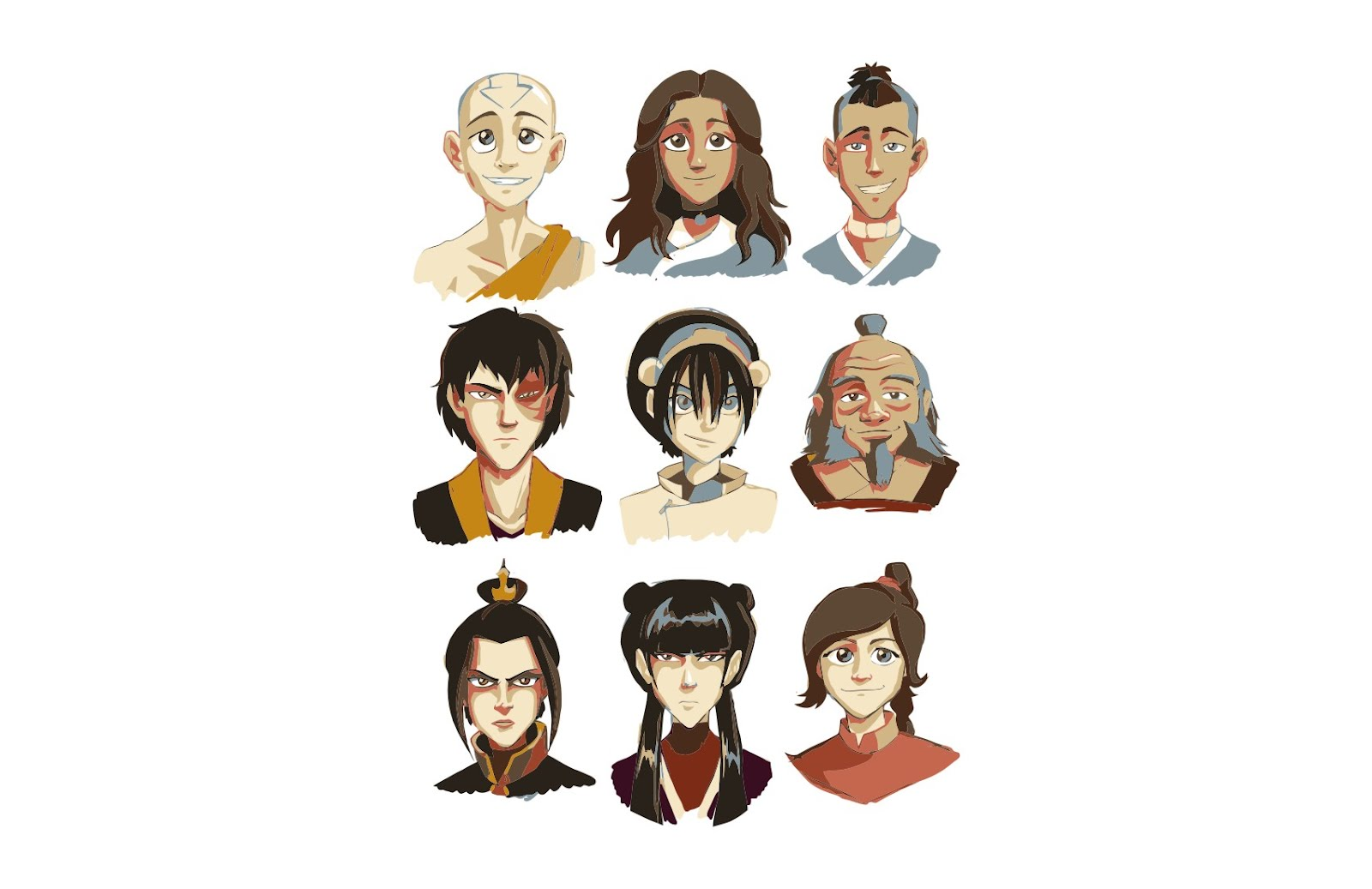 Avatar The Last Airbender Characters Back Front Preview