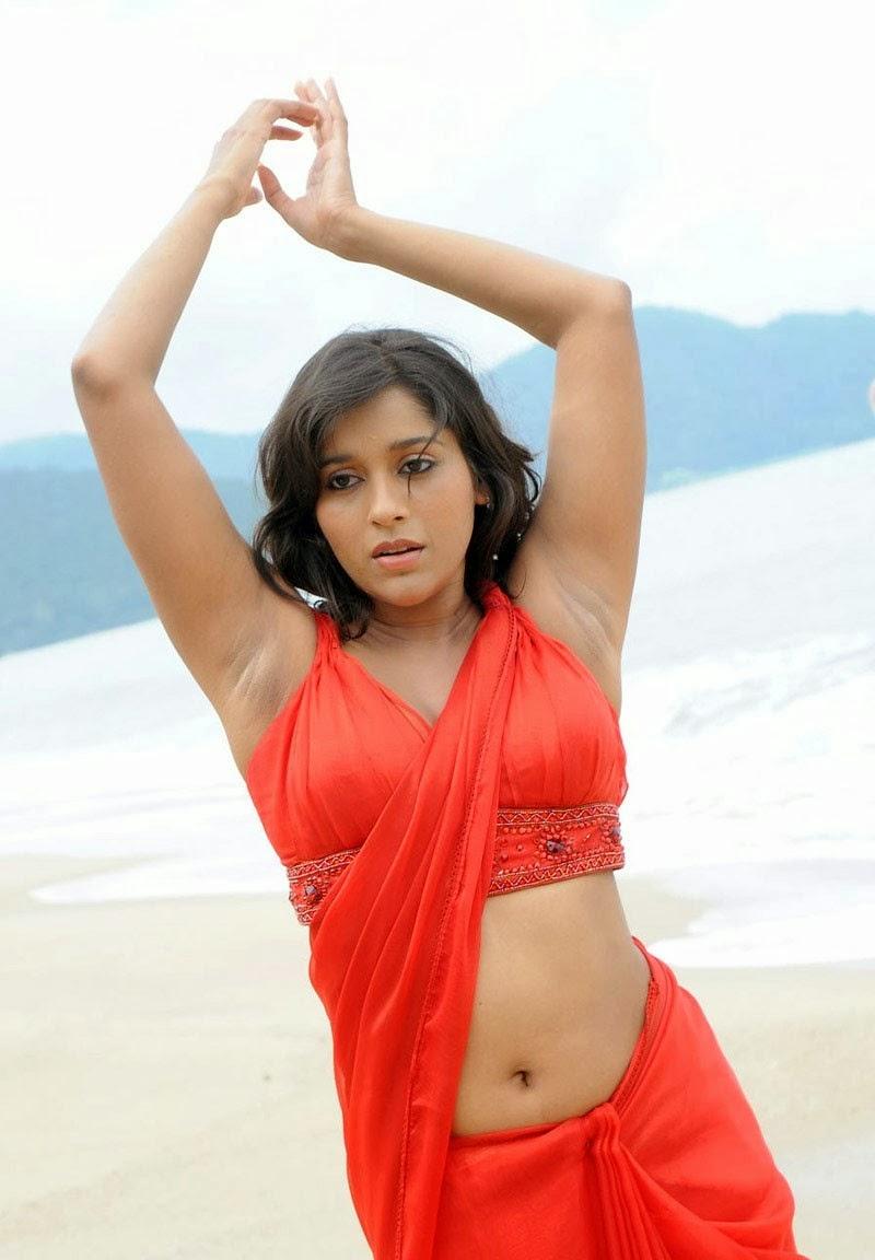 anchor rashmi gautam deep navel show with armpit red saree