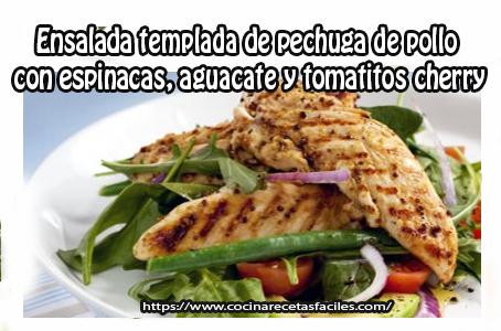 pollo, espinacas,tomatitos,cebolla,aguacate,vinagre