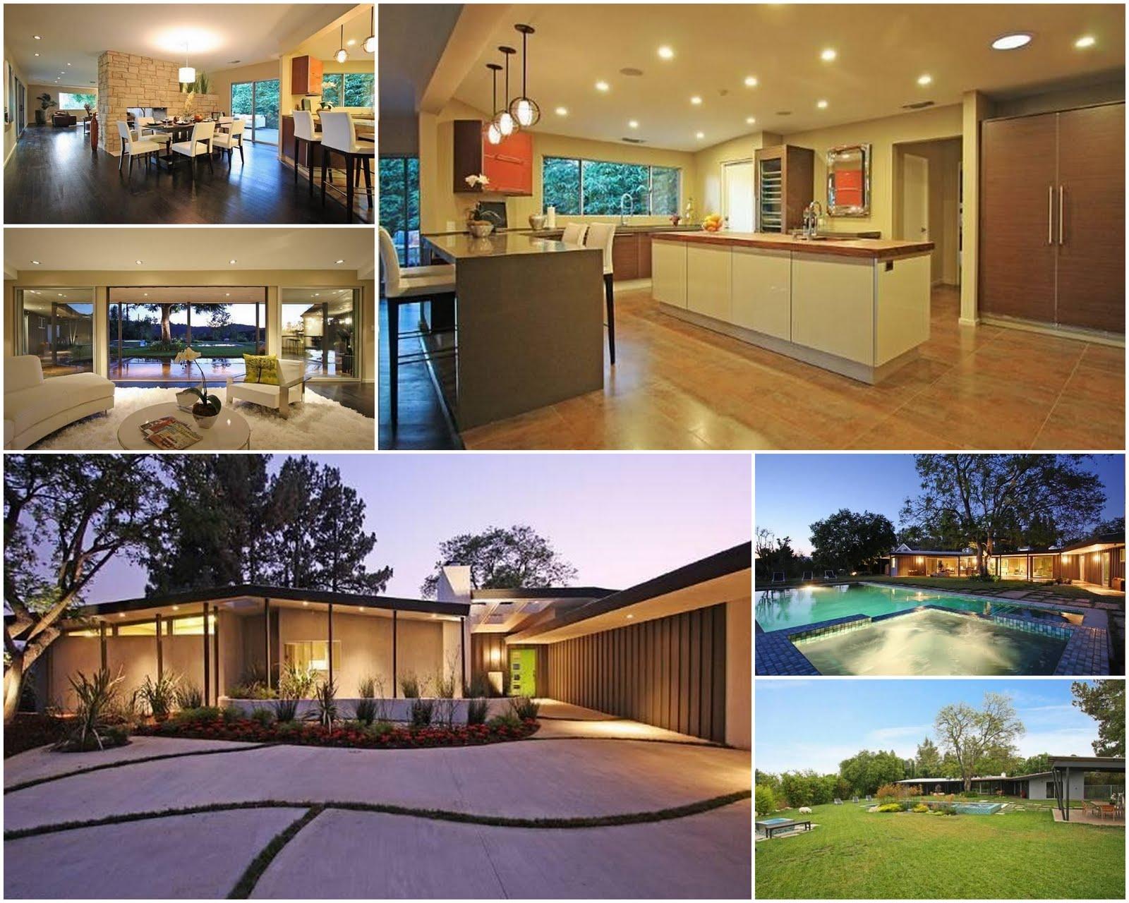 Mid century modern master bedroom - Celebrity Real Estate Miley Cyrus Aka Hannah Montana Buys In Studio
