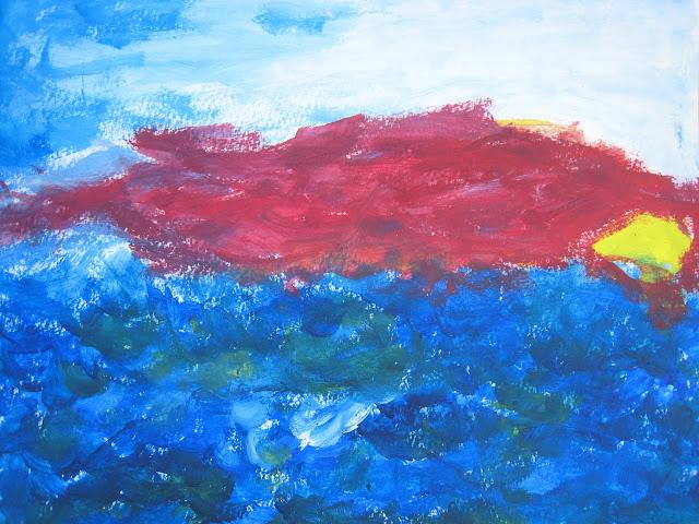 Pintura que muestra una puesta de sol y un atardecer marino con pronóstico de bastante y fuerte viento, obra de Emebezeta