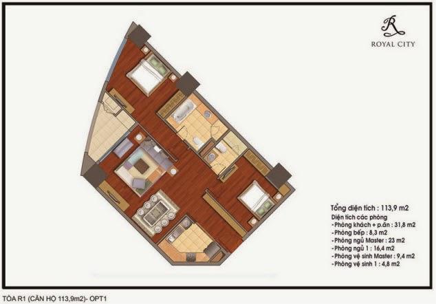 Chi tiết thiết kế căn hộ toà R1 chung cư Royal City diện tích 113.9 m2