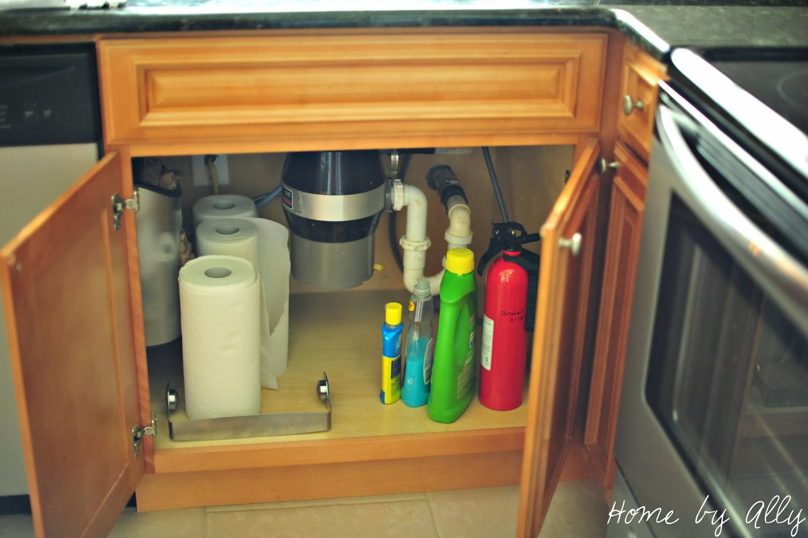 Under Kitchen Sink Cabinet Home By Ally Diy Under Sink Tile And How To Keep It Clean