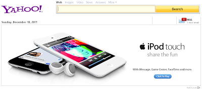Apple iPod Touch Advertisement on Yahoo!