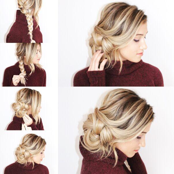 Повседневные укладки на волосы средней длины своими руками 80