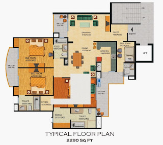 Emerald Court :: Floor Plans,Emperor - Type A:-Typical Floor3 Bedrooms, 3 Toilets, Kitchen, Dining, Drawing, 3 Balconies, Servant Room with Toilet, Area - 2290 Sq. Ft.