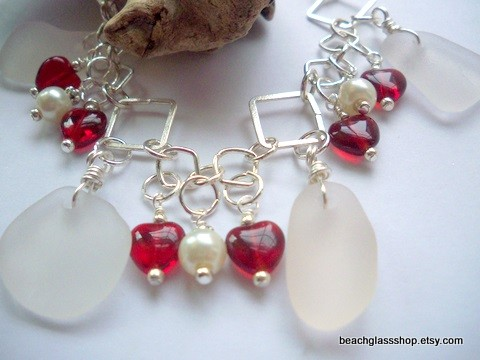 Beach Glass Bracelet for Valentines Day