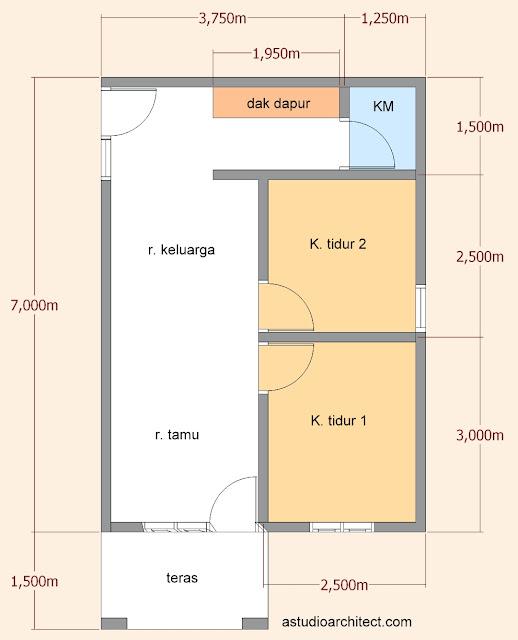 A Desain Rumah Mungil Sederhana 5x7m