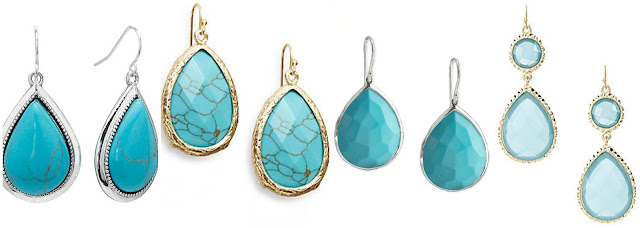Turquoise teardrop earrings have been showing up everywhere lately! Three of these are $20 or less and one is from Ippolita for $595. Can you guess which ones are the more expensive pair? Click the links below to see if you are correct!
