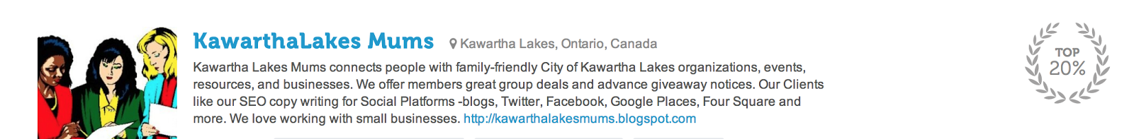 Twtrland Awards Kawartha Lakes Mums Top 20% Social Media Award!