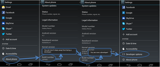 cara menampilkan developer option di android