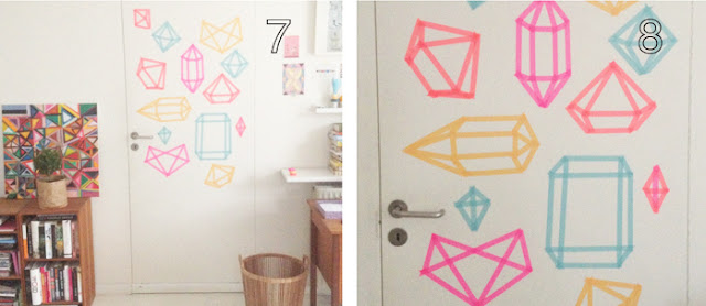 gem washi tape wall art