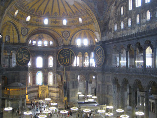The huge interior of the Haghia Sophia, once the largest church in the world.