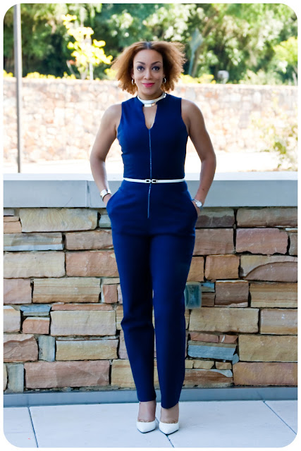 Navy Zip-Front Jumpsuit using modified versions of Vogue 8993 and McCall's 6930.  Fabric is a navy stretch cotton twill from Mood Fabrics.  Erica B's DIY Style!