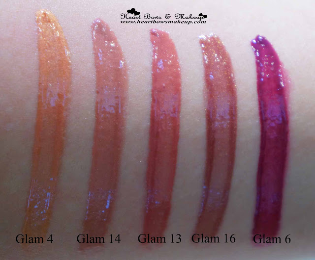 Maybelline Lip Polish Glam 4 Glam 14 Glam 13 Glam 16 Glam 6 review swatches price india