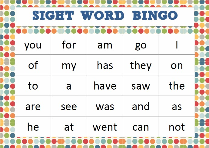 Critical image throughout sight word bingo printable
