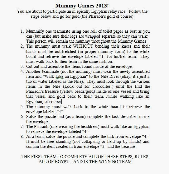 Mummy Games Rules/Task Handout-Guide