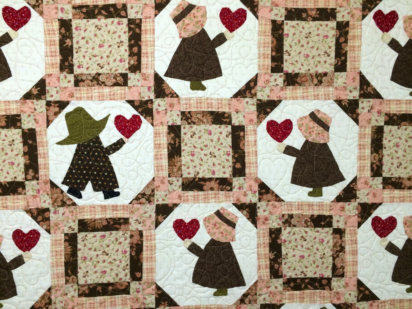 June Maynard's Shabby Chic Sunbonnet Sue and Sam Quilt