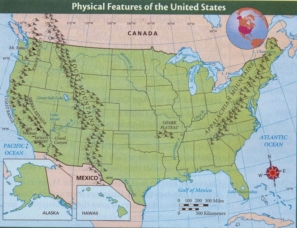 Physical Features Map Of The United States - Physical features of the us map