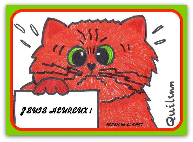 dessin d'un chat heureux