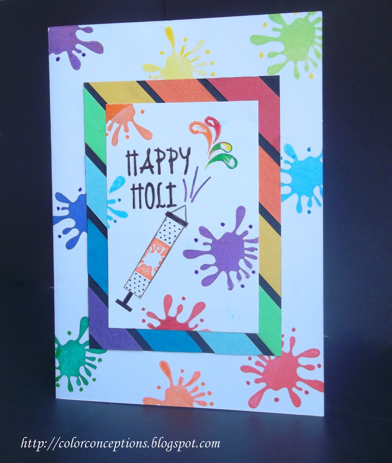 Superb Holi Card Making Ideas Part - 2: Masking For Stamping On Sides And Reverse Masking For The Centre