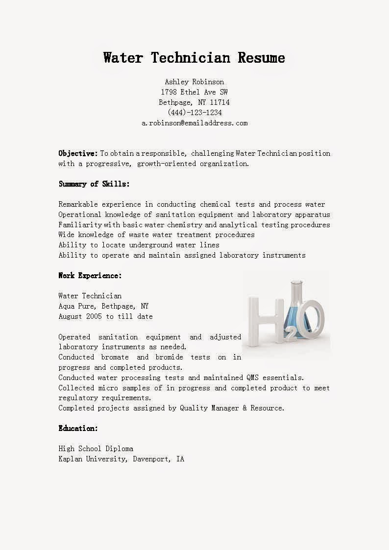 Resume Samples Water Technician Resume Sample