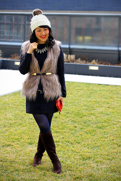 Sabine faux fur vest with Zara long sleeve plaid dress with zipper