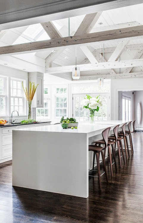 open kitchen with ceiling beams T.D.C: Pitched Roofing + Wooden Beams
