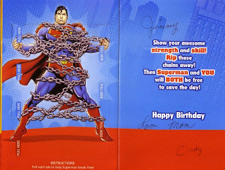 Inside of Superman chained birthday card from Hallmark