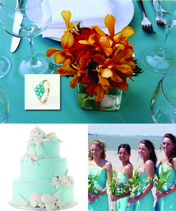 Turquoise orange table setting Engagement ring